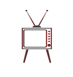 Old TV icon retro style screen and antenna object vector image