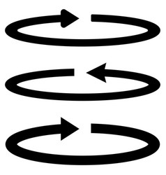 three black arrows with part circles in flatness vector image