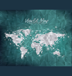 world map city lights in green degraded and vector image