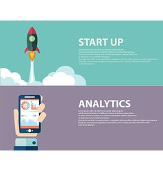 Analysis and start up concept Web banner design vector image vector image