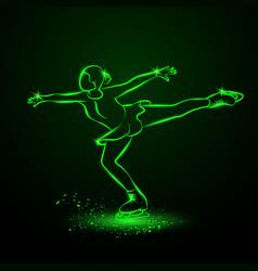 Figure skating neon vector