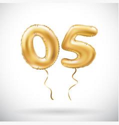 golden number 05 zero five metallic balloon party vector image vector image