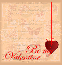 greeting card be my valentine vector image vector image
