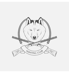 hunting wolves label vector image