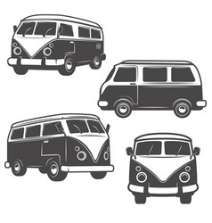 set of retro hippie buses isolated on white vector image