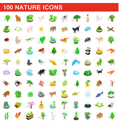100 nature icons set isometric 3d style vector image vector image