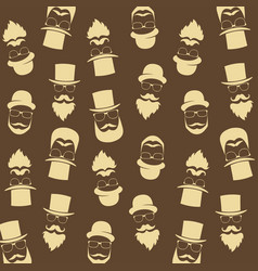bearded hipster pattern with glasses moustaches vector image vector image