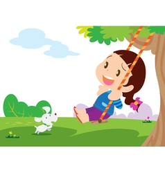 Cute girl sitting on swing vector image