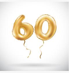 golden number 60 sixty metallic balloon party vector image vector image