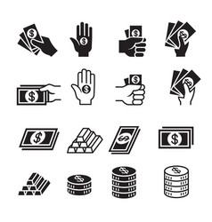 hand and money icon set vector image vector image