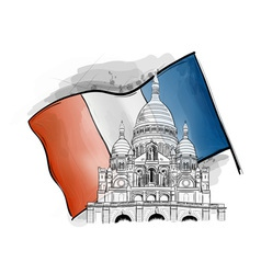sacre coeur on the france flag vector image vector image