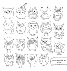 Set of funny owls Drawn by hand vector image