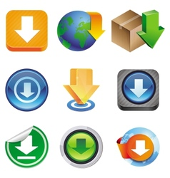 set with download icons vector image