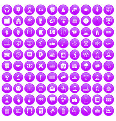 100 conference icons set purple vector image