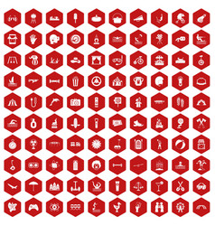 100 summer vacation icons hexagon red vector