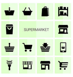 14 supermarket icons vector image