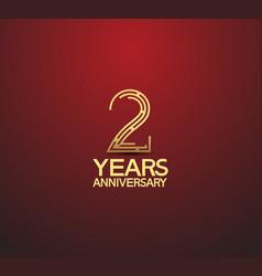 2 years golden anniversary logotype vector