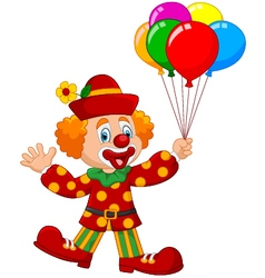 Adorable clown holding colorful balloon vector image