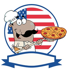 African American Chef Holding A Pizza vector image