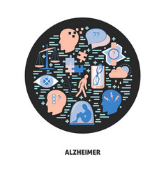 alzheimer s symptoms round concept in flat style vector image