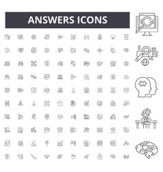 Answers line icons signs set outline vector