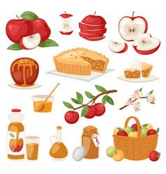 Apples healthy applepie with jam vector