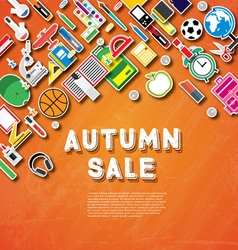 Autumn sale banner with school supplies vector image