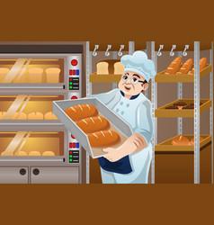 Baker holding breads vector