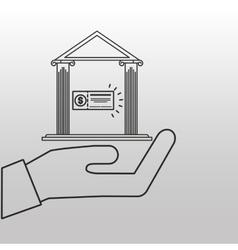Bank building money check design vector