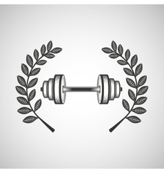 barbell sport emblem laurel branch vector image