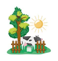 Beautiful farm cartoons vector