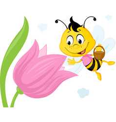 bee collects honey from a tulip - ute vector image