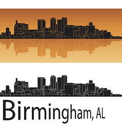Birmingham skyline in orange background vector