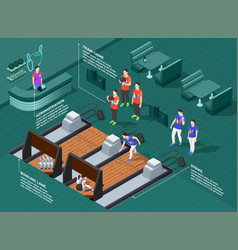 bowling competition isometric composition vector image
