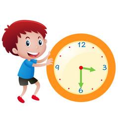 Boy and yellow clock vector