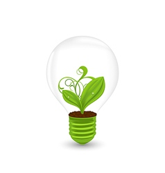 Bulb with green plant inside - eco technology vector image