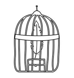 Cage bird jail with feather vector