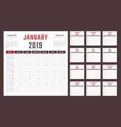 Calendar for 2019 starts sunday vector