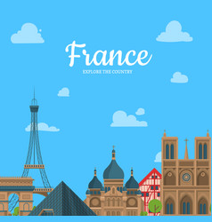 Cartoon france sights and objects vector