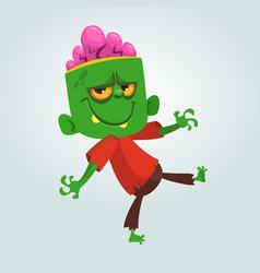 cartoon funny green zombie with big head vector image