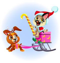 cartoon funny puppy sledding box with presents vector image