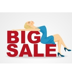 cartoon woman girl lying on big sale text vector image