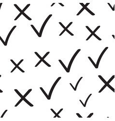check marks tick and cross seamless pattern vector image