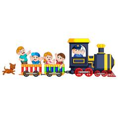Children and engineer of locomotive vector