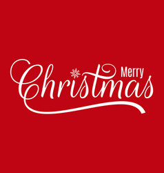 christmas vintage lettering merry xmas on red vector image