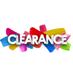 Clearance poster with brush strokes vector