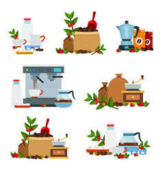 collection icons flat style on coffee vector image