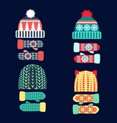Collection of knitted woolen Hat and mittens vector