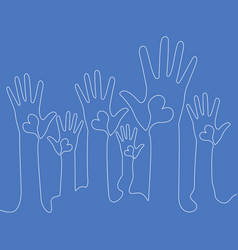 Continuous line raised hands with hearts concept vector