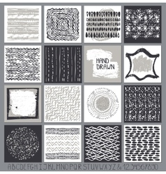 Creative cards setHand Drawn ink textures vector